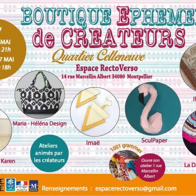 boutique éphémère créateurs Montpellier Celleneuve 6 - 7 mai 2017